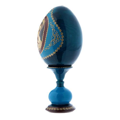 Uovo in legno blu russo decorato a mano Madonna col Bambino h tot 16 cm 2