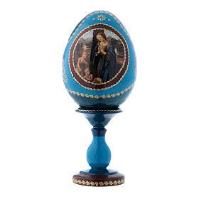 Russian Egg Madonna adoring the Child, Fabergé style, blue 16 cm