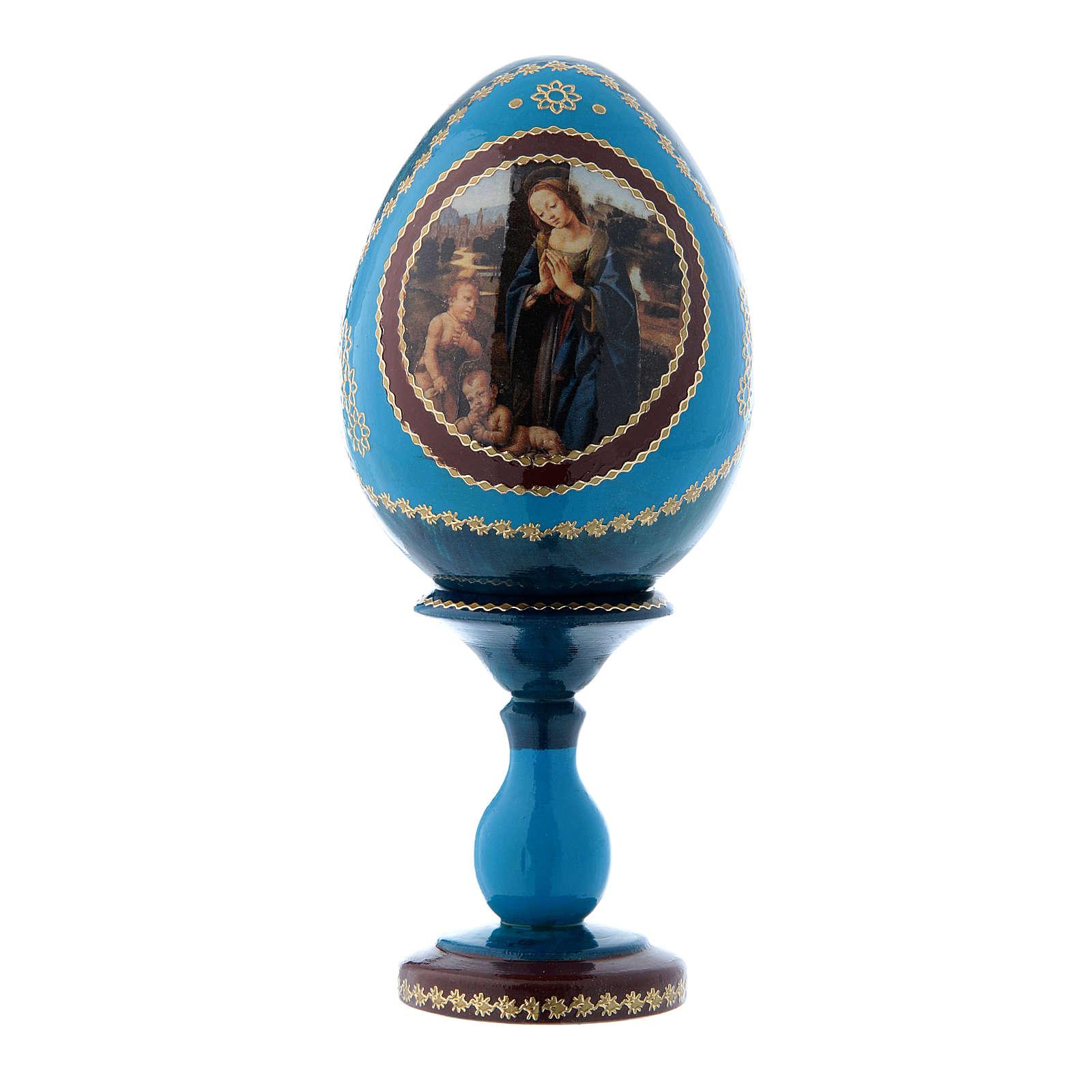 Uovo blu russo Adorazione del Bambino con San Giovannino h tot 16 cm 4