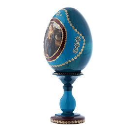 Uovo blu russo Adorazione del Bambino con San Giovannino h tot 16 cm s2