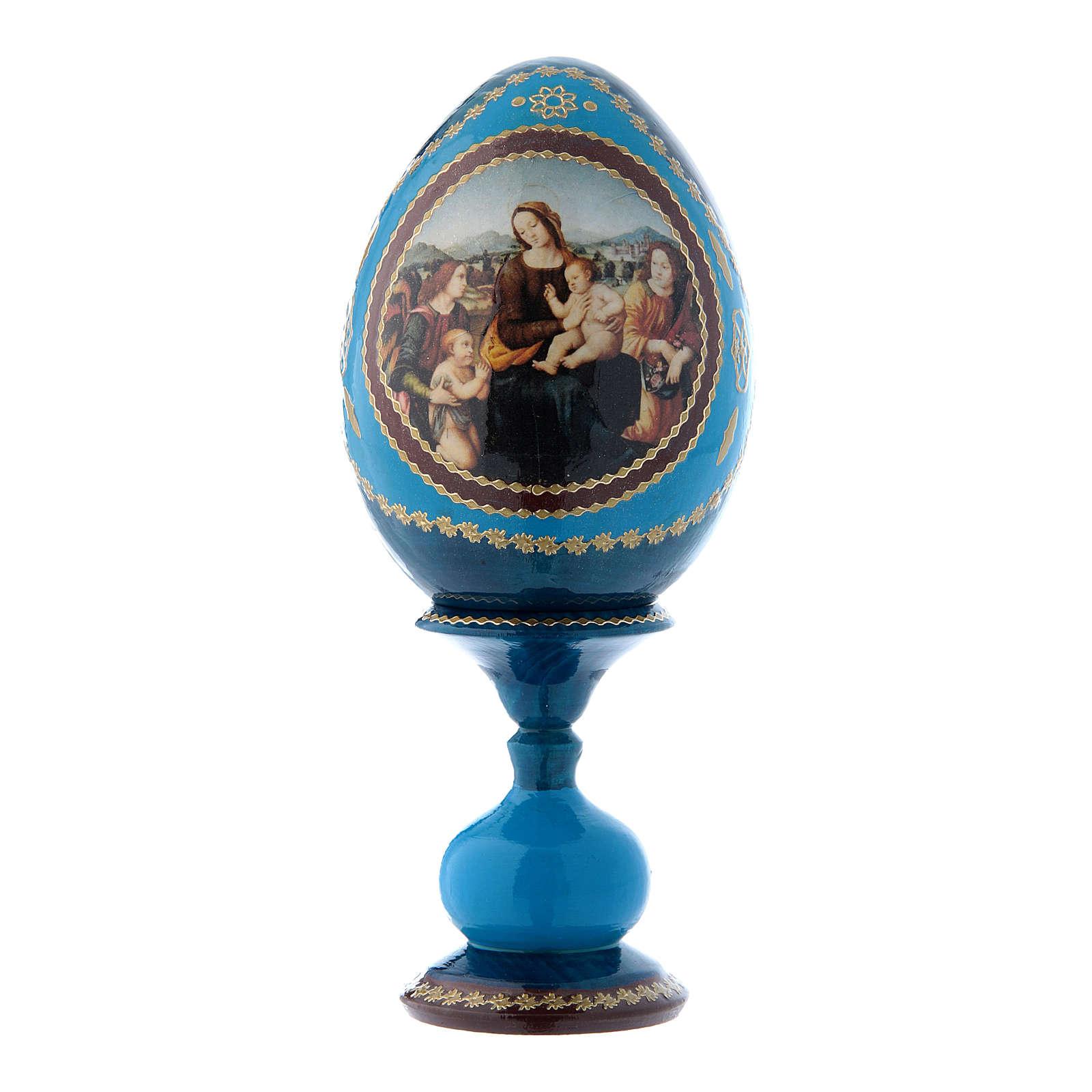 Uovo russo stile Fabergè blu Madonna col Bambino, San Giovannino e Angeli h tot 16 cm 4