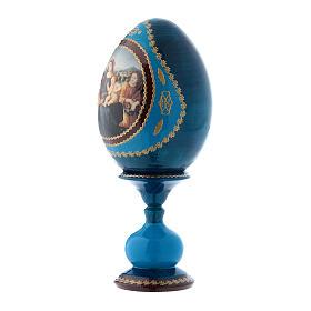 Uovo russo stile Fabergè blu Madonna col Bambino, San Giovannino e Angeli h tot 16 cm s2