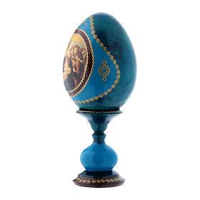 Uovo russo decorato a mano blu La Madonna della Melagrana h tot 16 cm s2