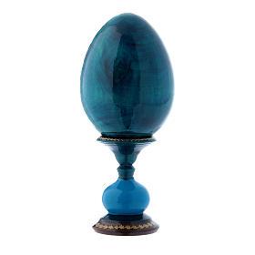 Uovo russo decorato a mano blu La Madonna della Melagrana h tot 16 cm s3
