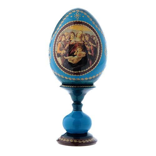 Uovo russo decorato a mano blu La Madonna della Melagrana h tot 16 cm 1