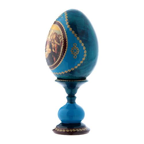 Uovo russo decorato a mano blu La Madonna della Melagrana h tot 16 cm 2