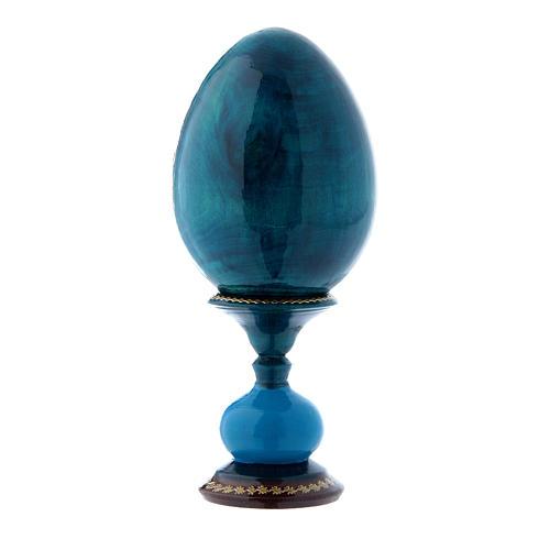 Uovo russo decorato a mano blu La Madonna della Melagrana h tot 16 cm 3