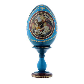 Huevo azul La Virgen del Magnificat ruso de madera h tot 16 cm s1