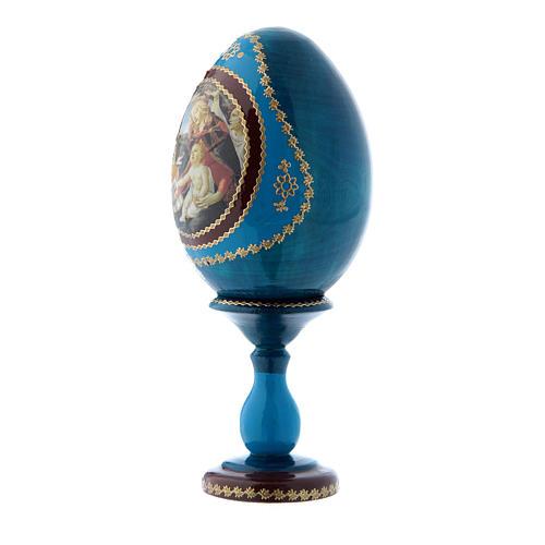 Uovo blu La Madonna della Magnificat  russo in legno h tot 16 cm 2