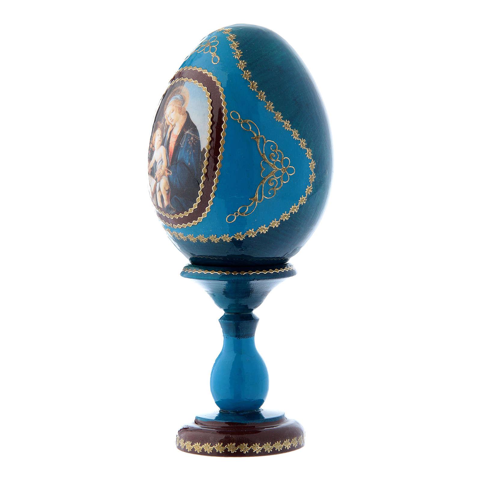 Oeuf russe découpage bleu La Madone du Livre h tot 16 cm 4