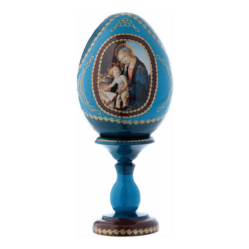 Oeuf russe découpage bleu La Madone du Livre h tot 16 cm 1