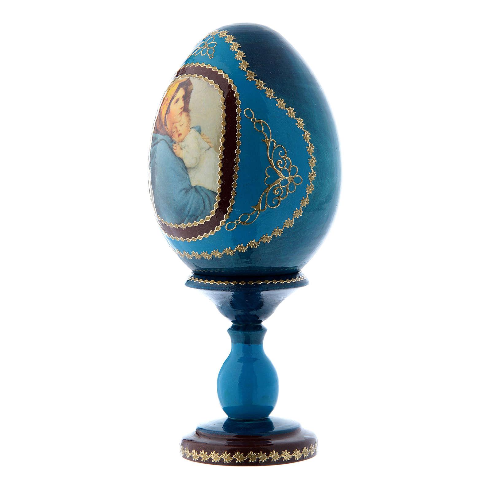 Uovo blu in legno russo La Madonnina h tot 16 cm 4