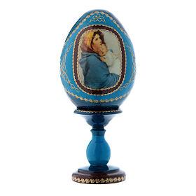 Uovo blu in legno russo La Madonnina h tot 16 cm s1