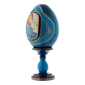Uovo blu in legno russo La Madonnina h tot 16 cm s2