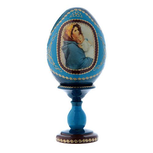 Uovo blu in legno russo La Madonnina h tot 16 cm 1