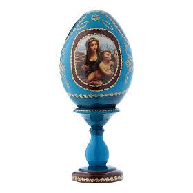 Huevo ícono ruso azul decoupage La Virgen del Huso h tot 16 cm s1