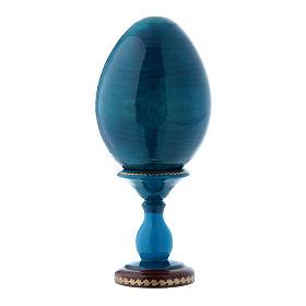 Huevo ícono ruso azul decoupage La Virgen del Huso h tot 16 cm s2