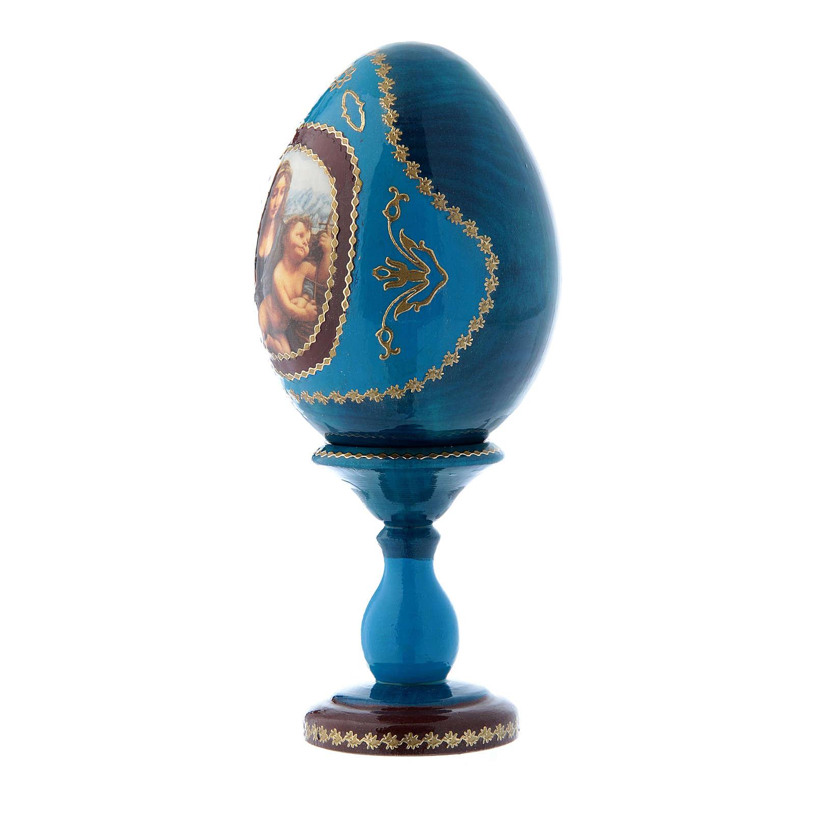 Uovo icona russa blu  découpage La Madonna dei Fusi h tot 16 cm 4