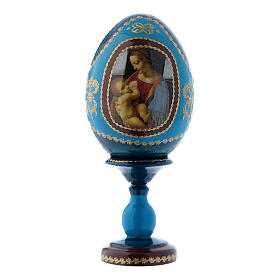 Russian Egg Madonna Litta, Fabergé style, blue 16 cm
