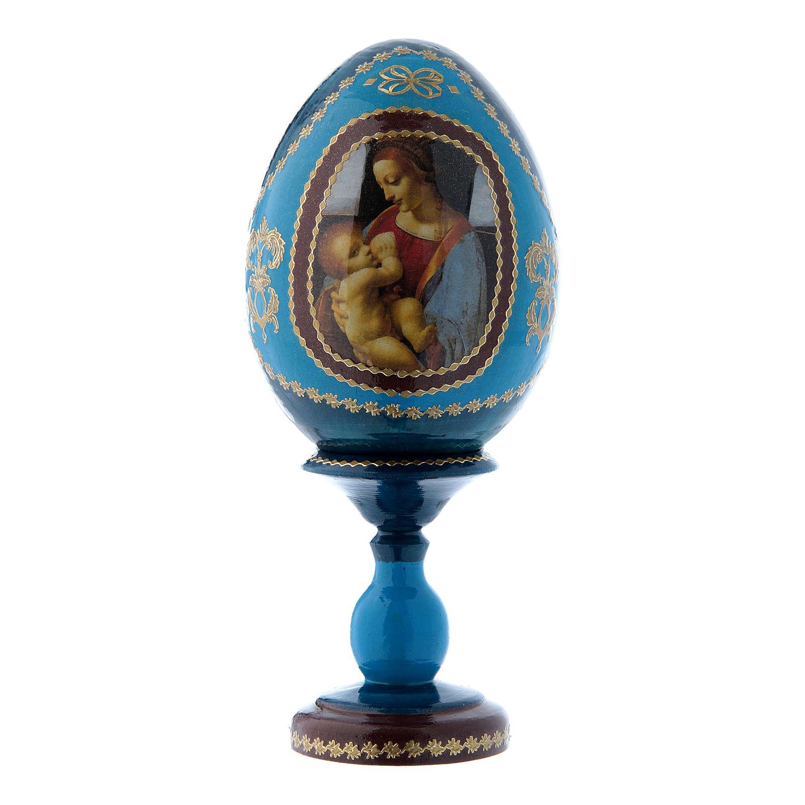 Uovo La madonna Litta russo blu in legno decorato a mano h tot 16 cm 4