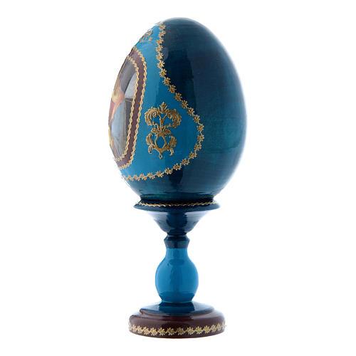 Uovo La madonna Litta russo blu in legno decorato a mano h tot 16 cm 2