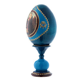 Russian Egg Madonna and Child with the Infant Saint John, Fabergé style, blue 16 cm