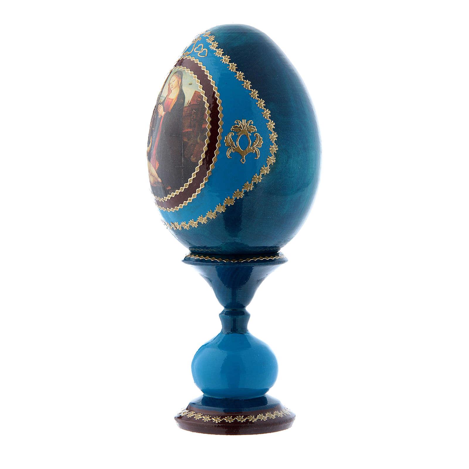 Uovo Madonna con Bambino e San Giovannino blu stile Fabergè h tot 16 cm 4