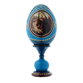 Uovo Madonna con Bambino e San Giovannino blu stile Fabergè h tot 16 cm s1