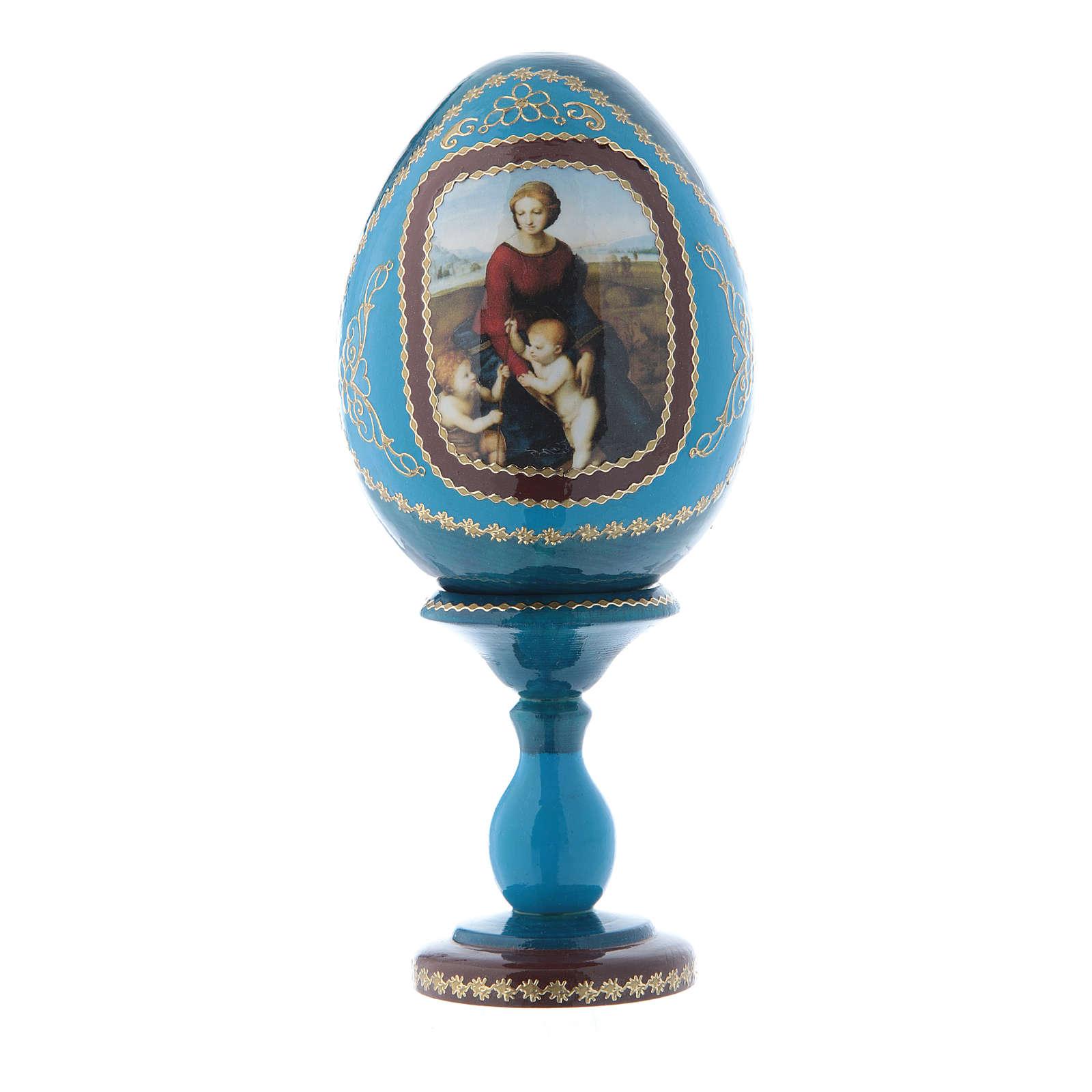 Uovo russo blu in legno La Madonna del Belvedere découpage h tot 16 cm 4