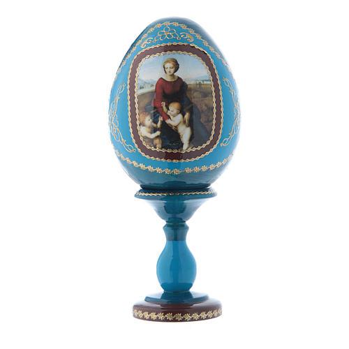 Uovo russo blu in legno La Madonna del Belvedere découpage h tot 16 cm 1