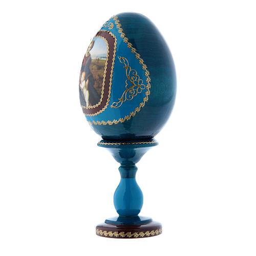 Uovo russo blu in legno La Madonna del Belvedere découpage h tot 16 cm 2