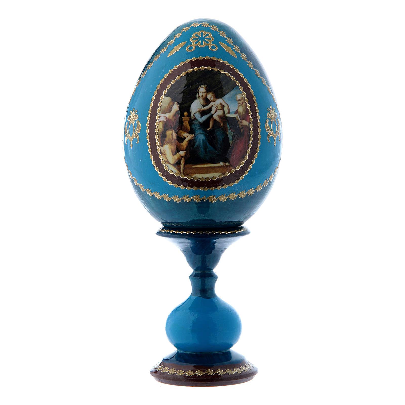 Huevo ruso La Virgen del Pez azul decorado a mano h tot 16 cm 4