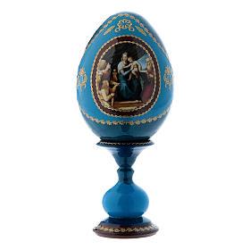 Huevo ruso La Virgen del Pez azul decorado a mano h tot 16 cm s1
