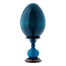 Huevo ruso La Virgen del Pez azul decorado a mano h tot 16 cm s3