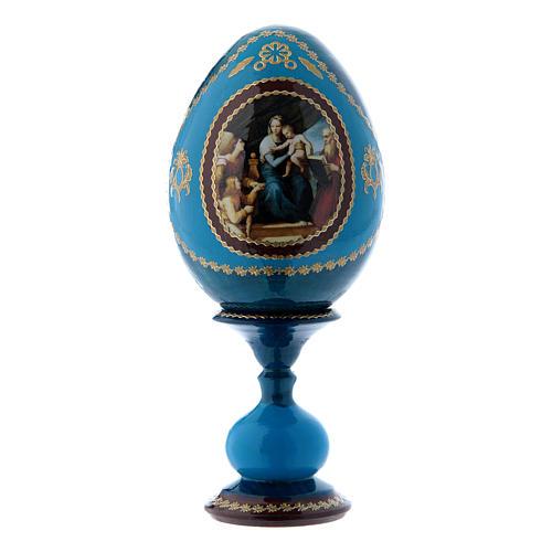 Huevo ruso La Virgen del Pez azul decorado a mano h tot 16 cm 1