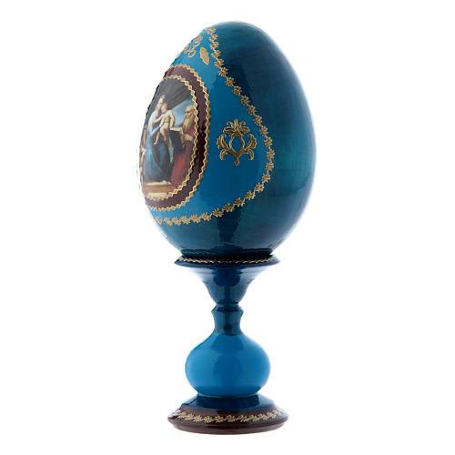 Huevo ruso La Virgen del Pez azul decorado a mano h tot 16 cm 2
