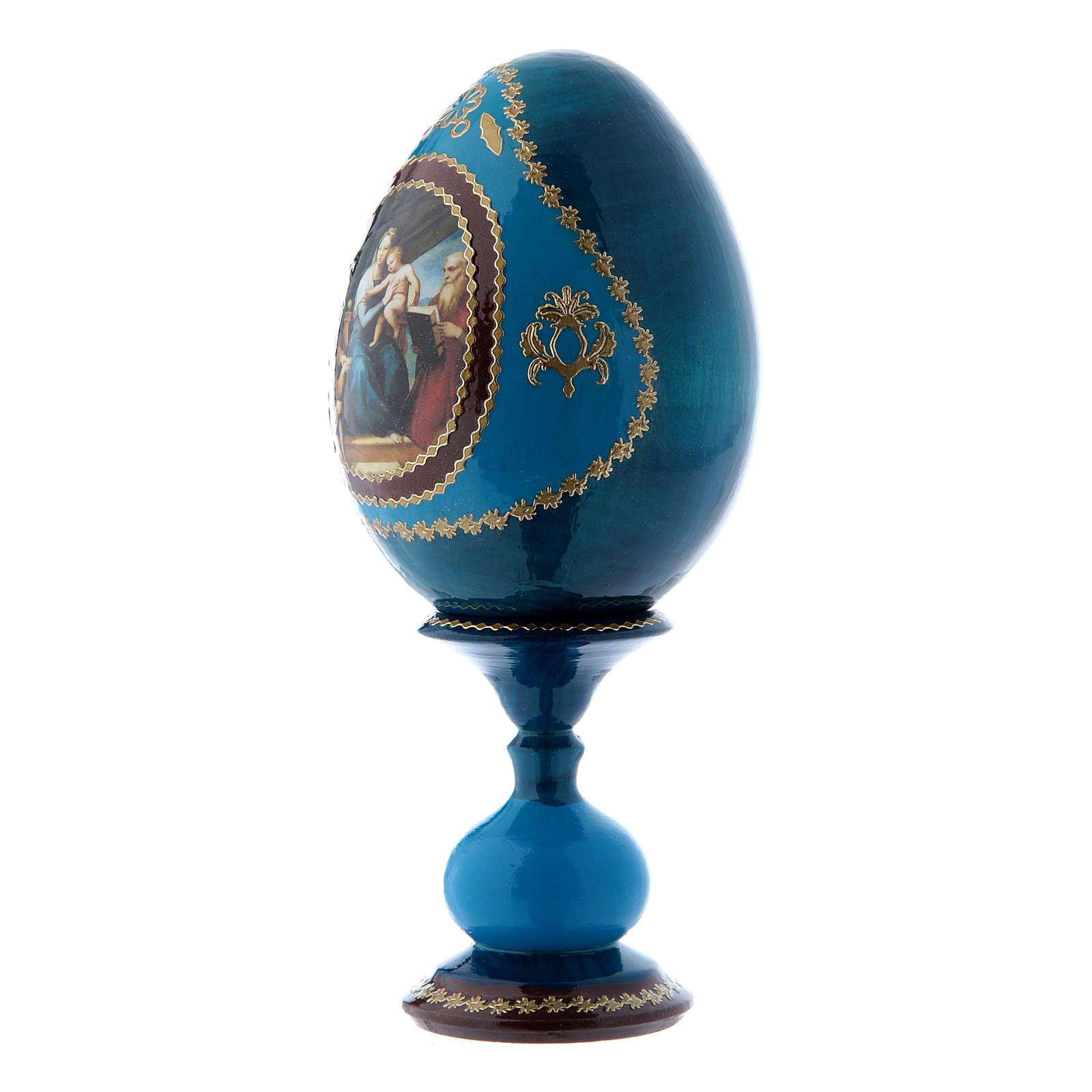 Uovo russo La Madonna del Pesce blu decorato a mano h tot 16 cm 4