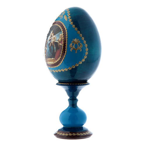 Uovo russo La Madonna del Pesce blu decorato a mano h tot 16 cm 2