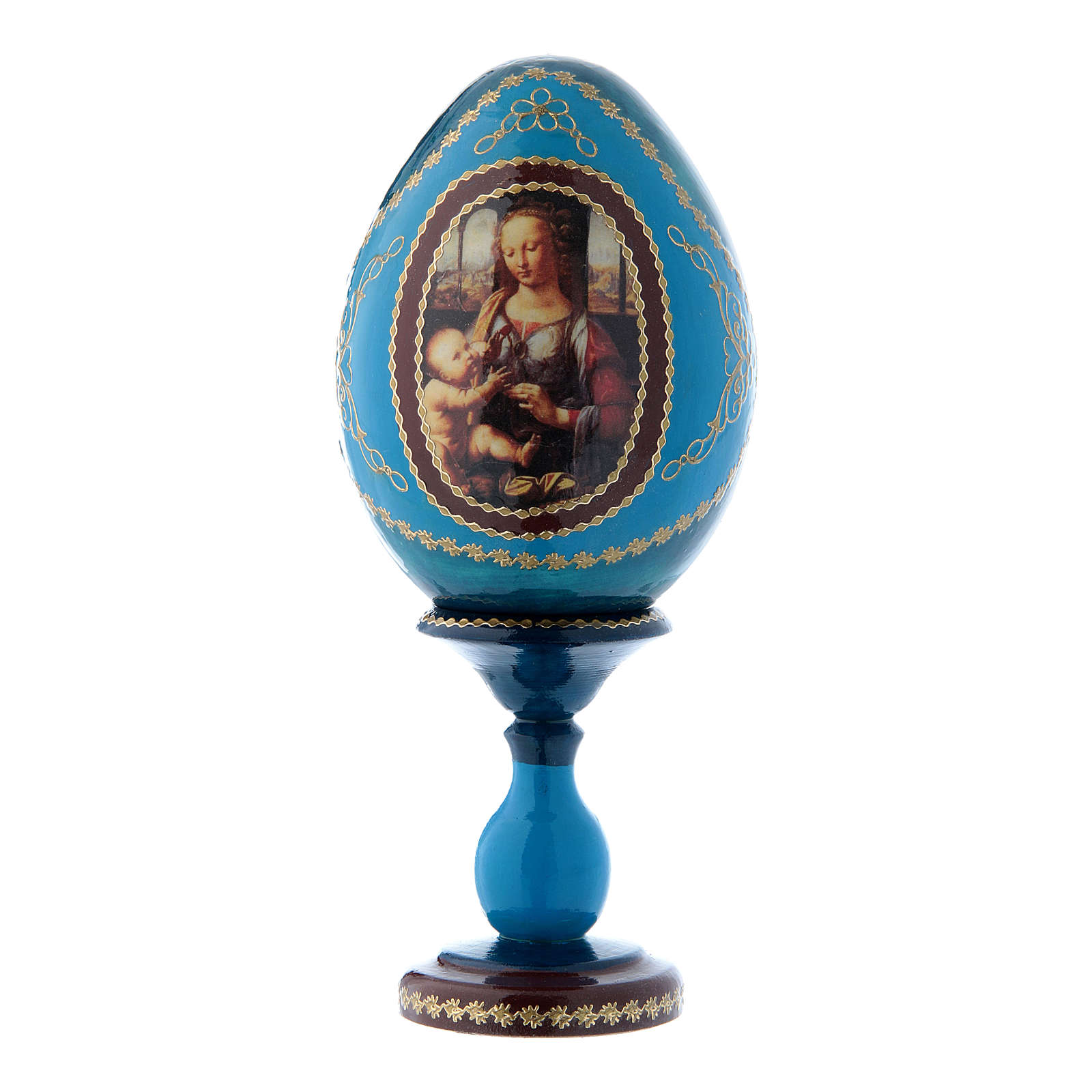 Oeuf icône russe bleu en bois La Madone à l'oeillet h tot 16 cm 4
