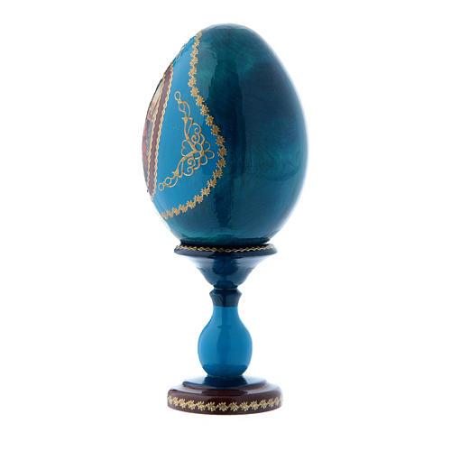 Uovo icona russa blu in legno La Madonna col Bambino h tot 16 cm 2