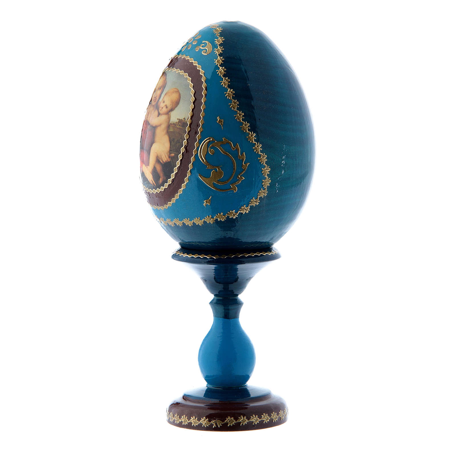 Uovo russo La Piccola Madonna Cowper blu découpage h tot 16 cm 4