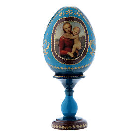 Uovo russo La Piccola Madonna Cowper blu découpage h tot 16 cm s1