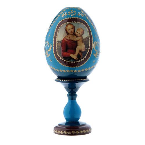 Uovo russo La Piccola Madonna Cowper blu découpage h tot 16 cm 1