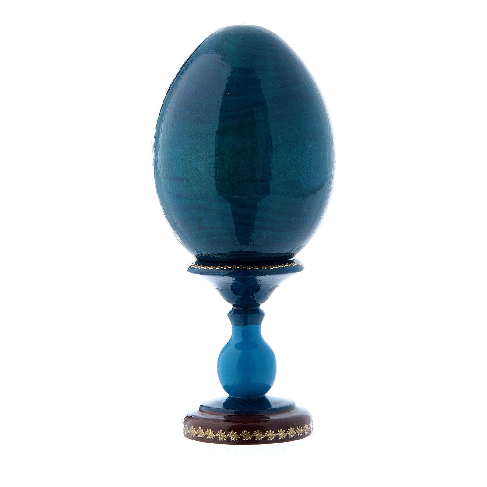 Uovo russo in legno blu stile Fabergè Madonna con Bambino h tot 16 cm 4