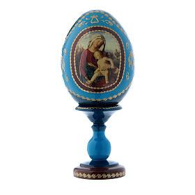 Uovo russo in legno blu stile Fabergè Madonna con Bambino h tot 16 cm s1