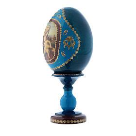 Uovo russo in legno blu stile Fabergè Madonna con Bambino h tot 16 cm s2