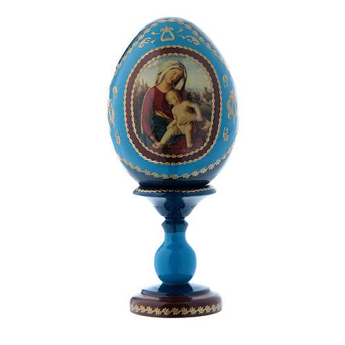 Uovo russo in legno blu stile Fabergè Madonna con Bambino h tot 16 cm 1