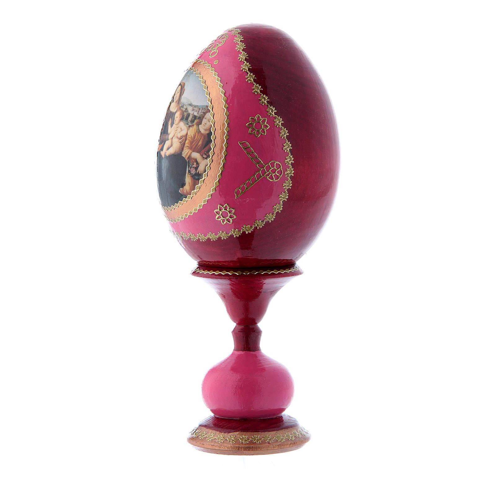 Huevo ruso rojo decorado a mano Virgen con Niño, San Juanito y Ángeles h tot 16 cm 4