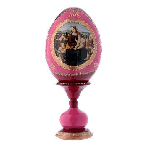 Huevo ruso rojo decorado a mano Virgen con Niño, San Juanito y Ángeles h tot 16 cm 1