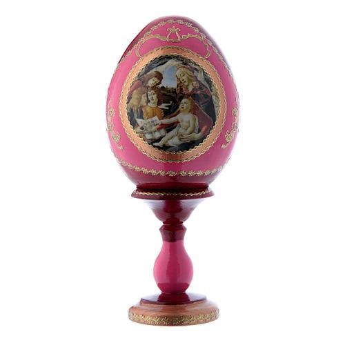 Uovo russo stile Fabergè rosso La Madonna della Magnificat h tot 16 cm 1